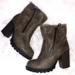 Mossimo Tan Distressed Heeled Booties - 7
